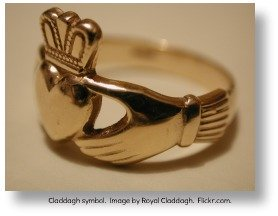 Irish symbols.  Claddagh ring.