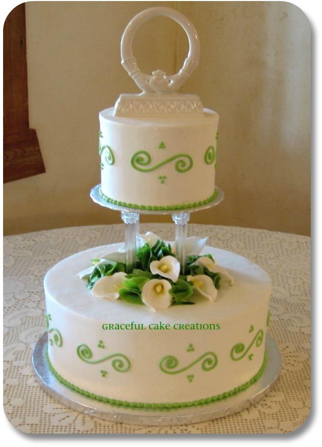 Irish Wedding Cake - Multi-Layer with Green Trim