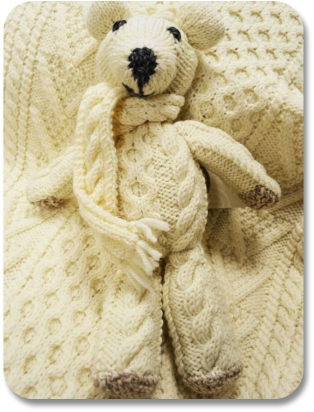 Irish Baby Gifts - Aran Wool Teddy Bear, Image Property of Aransweatermarket.com