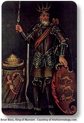 Brian Boru, King of Munster.  Image by IrishGeneology.com