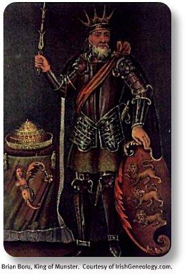Brian Boru, King of Munster.  Image by IrishGeneology.com