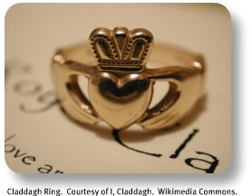 Claddagh ring.  Courtesy of I, Claddagh.  Wikimedia Commons
