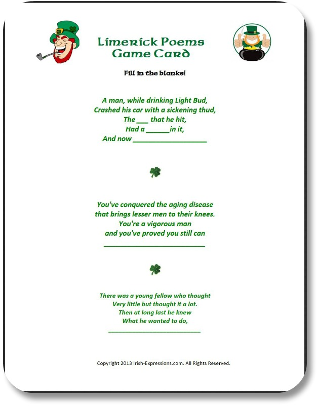 Irish Party Games - Write the Best Limerick!