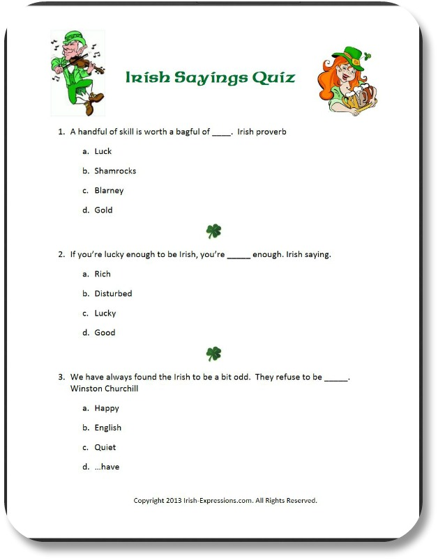 Irish Party Games - Know Your Irish Sayings!