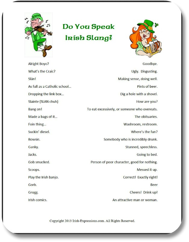 image about Printable Word Games referred to as Irish Slang Text: A Enjoyable, Printable Phrase-Activity Recreation!
