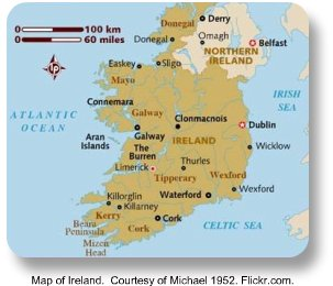 Map of Ireland.  Image by Michael 1952.  Flickr.com