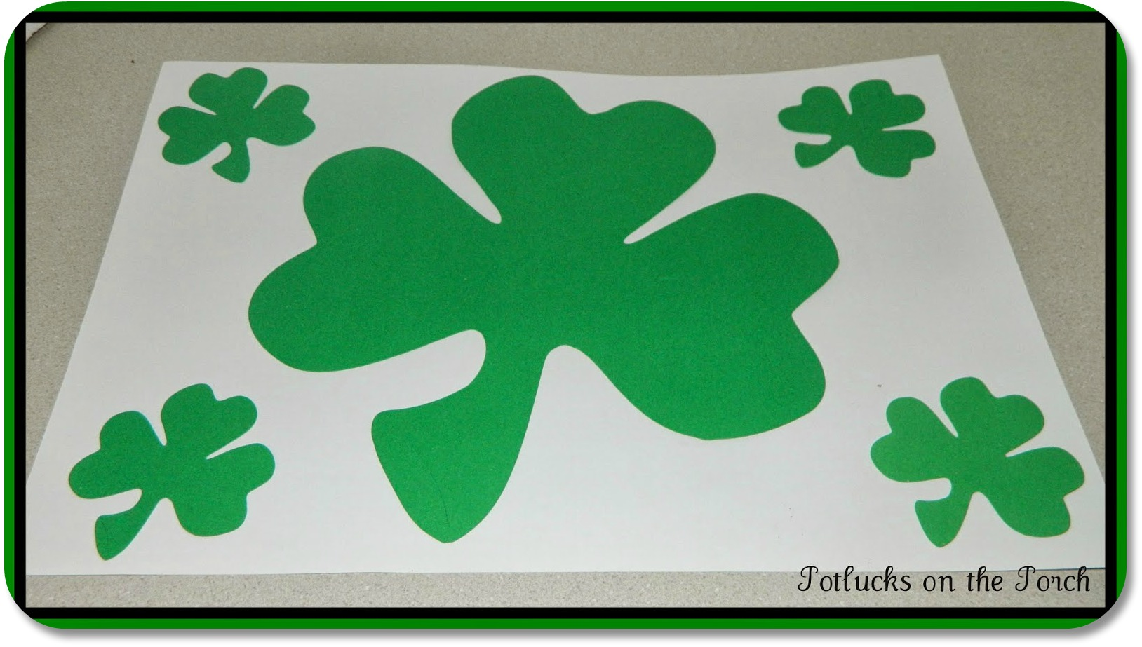 St Patricks Day Kids Crafts - Shamrock Placemat from Potlucks On The Porch