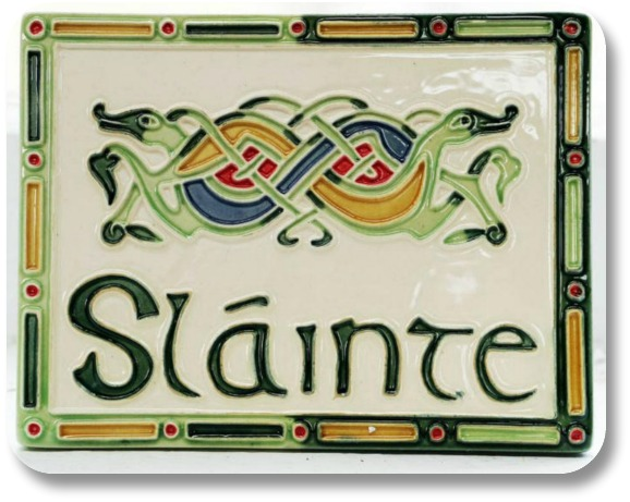 Irish Words - Tile image of the word Slainte from Blarney Woolen Mills.