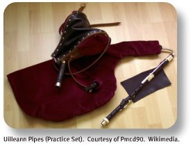 Uilleann Pipes (practice set).  Courtesy of Prncd90.  Wikimedia.com