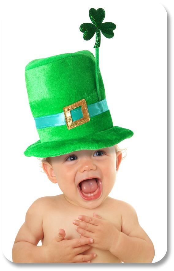 Clean Irish Jokes - Baby Shamrock Laughing