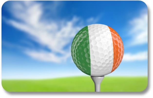 Irish Expressions - Irish golf jokes.  Picture of tricolor golf ball.