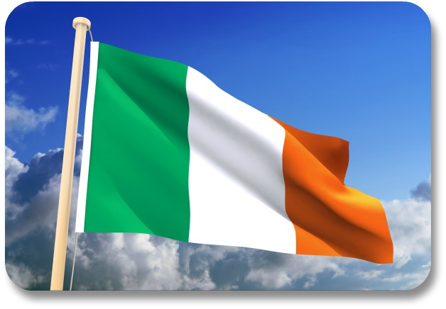 Irish Flag - Flying Against a Cloudy Sky