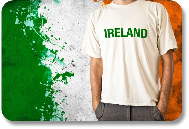 Irish Flag - Ireland T-Shirt Against Tri-Color Background