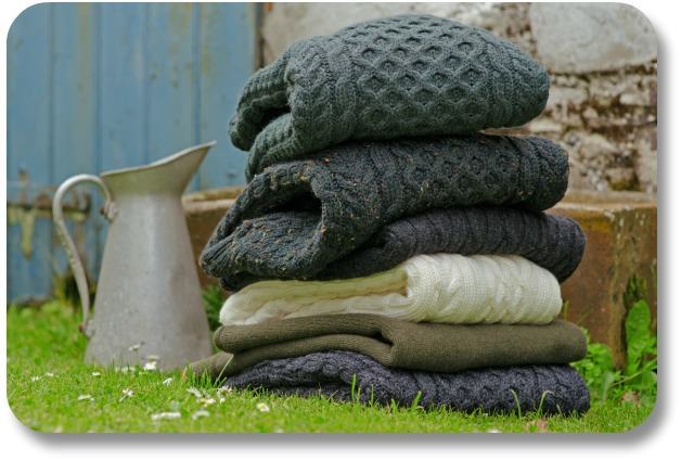 Irish Wool Sweaters - Stack of Aran Sweaters
