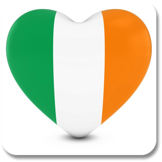 Irish Love Quotes - Heart with Irish Flag Colors