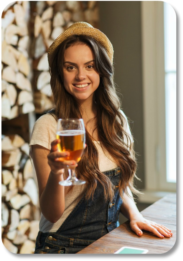 Irish Drinking Toasts - Girl in Pub Offering Toast
