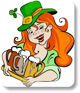 Irish holidays.  Funny Irish girl on St Patricks Day.