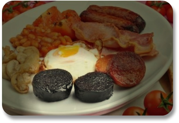 Irish Black Pudding - Highlighted in Picture of Irish Breakfast