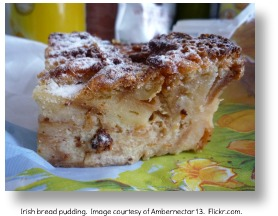 Irish bread pudding.  Image by Ambernectar13.  Flickr.com.