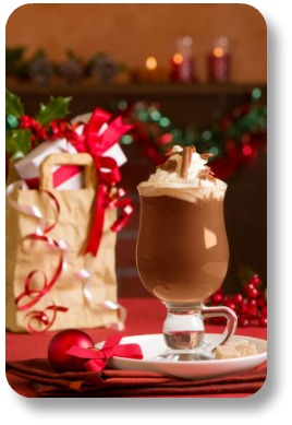 Irish Christmas sayings.  Irish Coffee with decorations.