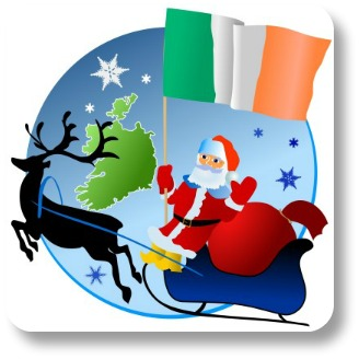 Irish Christmas Songs.  Santa with the Irish flag.