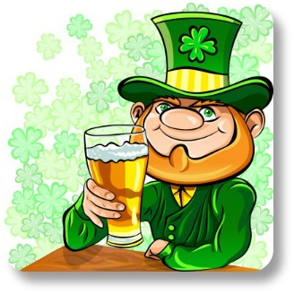 Irish drinking toasts.  Leprechan hoisting a beer!