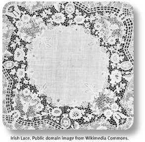 Irish lace.  Image by Wikimedia Commons