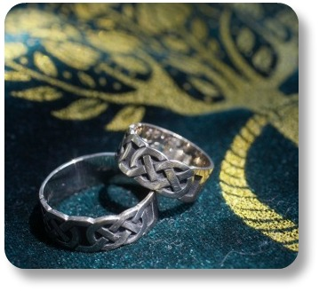 Irish wedding bands.  Celtic knot design.