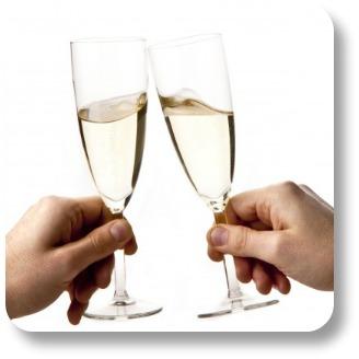 Irish wedding toasts.  Flutes and hands.