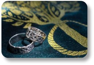 Irish wedding vows.  Celtic rings.