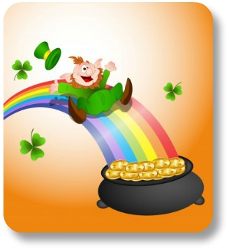 Retirement Limericks - Leprechan Sliding on Rainbow into Gold