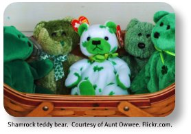Shamrock teddy bear.  Image by Aunt Owwee.  Flickr.com