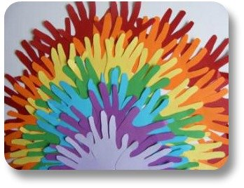St Patricks Day Kids Crafts - Hand Print Rainbow from Activity Village