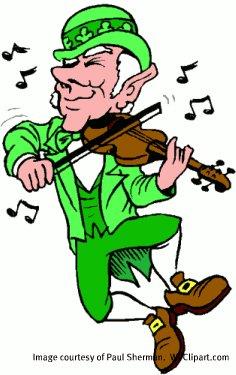 Fiddling Irishman.  Image by Paul Sherman.  WCClipart.com.