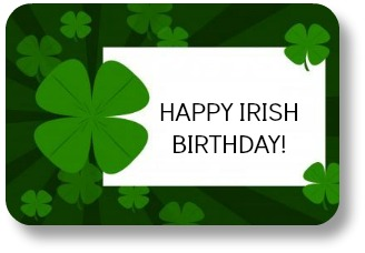 Irish Birthday Sayings: Birthday Present Tag.