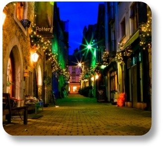 Irish Christmas blessings. An old street in Galway City, lit for Christmas!