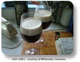 Irish coffee recipes.  Courtesy of Wikimedia Commons
