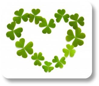 Irish love sayings. Heart symbol made of shamrocks!