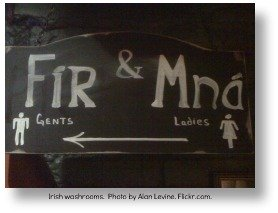 Irish phrases.  Finding the washroom.